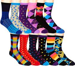 Zeke Mens Funky Dress Socks 12 Assorted Colorful Patterns Si