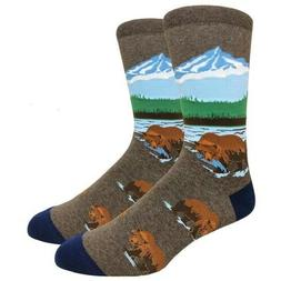 Fine Fit Mens Novelty Crew Dress Socks - LARGE - Grizzly Bea