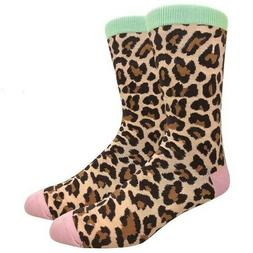 Fine Fit Mens Novelty Crew Dress Socks - LARGE - Leopard