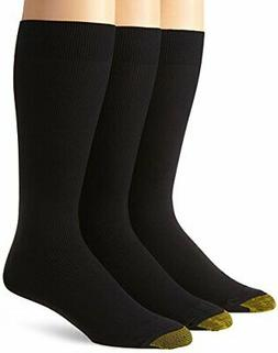 Gold Toe Men's Metropolitan Extended Sock, 3 Pack,Black,13-1