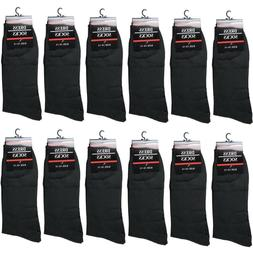 New 12 Pairs Mens All Black Dress Socks Fashion Casual Cotto