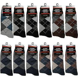 New Lot 12 Pairs Mens Argyle Diamond Cotton Dress Socks Casu