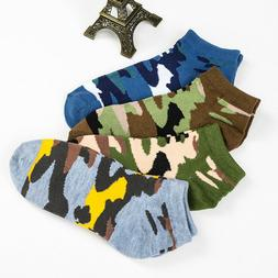 NEW Mens Camouflage Cotton Socks Crew Ankle Low Cut Casual D