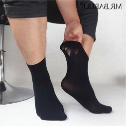 NEW SALE 5Pairs Pack Men's Black Thin Silky Short Ankle Dres