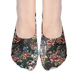 No Show Socks Floral Wars Black Fantastic Womens Low Cut Soc