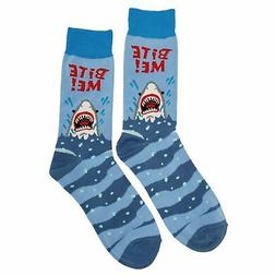 NWT Bite Me Dress Socks Novelty Men 8-12 Blue Fun Sockfly