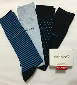 NWT 4 Pack CALVIN KLEIN Combed Cotton Dress Socks Size 7-12