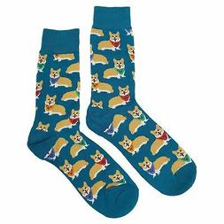 NWT Corgi Dress Socks Novelty Men 8-12 Blue Fun Sockfly