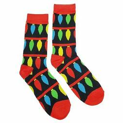 NWT Large Christmas Light Dress Socks Novelty Men 8-12 Black