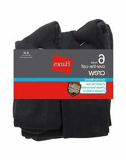Hanes Over-the-Calf Crew Socks 6 Pack ComfortBlend White or