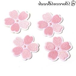 DoreenBeads Pink Flowers Patches Appliques Iron On Embroider