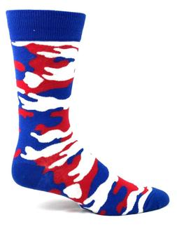 Red White and Blue Camo Crew Dress Socks