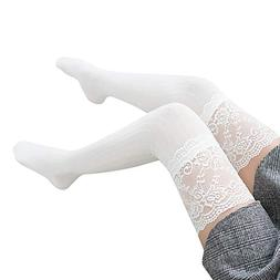 Socks,DaySeventh Women Lace Trim Thigh High Over The Knee So