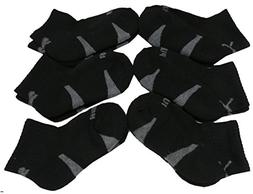 Puma Toddler Boys 6pk Qtr Crew Socks, Black, Sock: 5-6.5, Sh