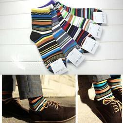 US 5 Pairs Men's Designer Fashion Dress Socks Unisex Striped