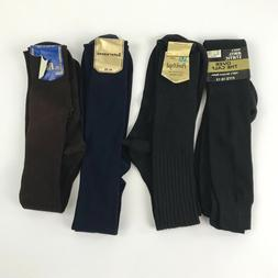 Vintage Mens Dress Socks Lot of 4 Pairs Brown Blue Black Fit