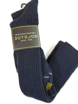 Gold Toe Men's Windsor Wool Over the Calf Dress Sock, Navy,