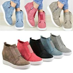 Womens Ankle Boots Hidden Wedge Low Mid Heel Sneakers Zip up