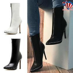 Womens High Heel Ankle Boots Ladies Point Toe Sock Stretch Z
